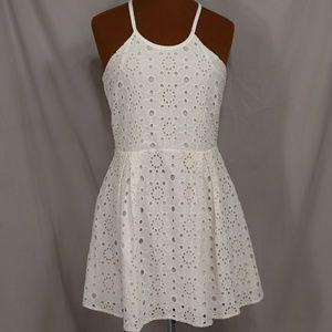 Cotton Eyelet Silk Lined Short Dress Quality Ivory
